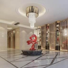 新中式酒店大堂3D模型【ID:752598044】