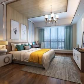 现代卧室3D模型【ID:534837203】