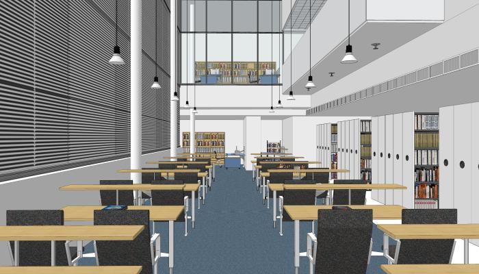 現代圖書館室內設計SU模型【ID:147292274】