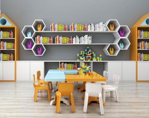 现代儿童书架儿童读物桌椅玩具组合3D模型【ID:930557345】