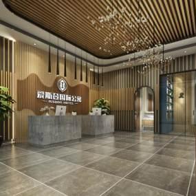 工业风酒店大厅3D模型【ID:752635069】