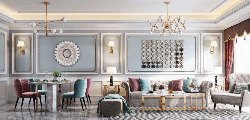 美式轻奢客餐厅 沙发茶几组合 餐桌椅