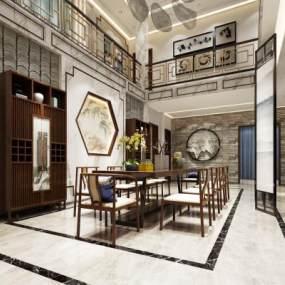 新中式餐厅3D模型【ID:532198116】