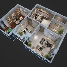 現代辦公室鳥瞰3D模型【ID:946937072】