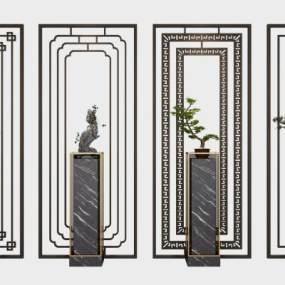 新中式隔断屏风摆件盆栽组合3D模型【ID:333109774】
