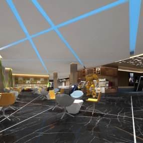 现代电影院大厅3D模型【ID:643450812】