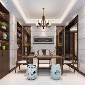現代中式茶室3D模型【ID:642907197】