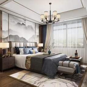 新中式卧室3D模型【ID:553362239】