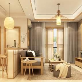 日式风格客厅3D模型【ID:550704073】