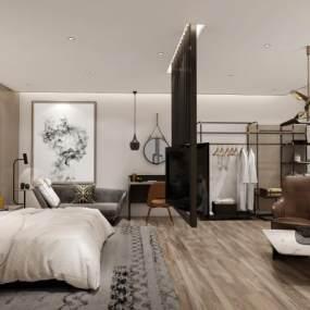 现代风格酒店客房3D模型【ID:743570324】