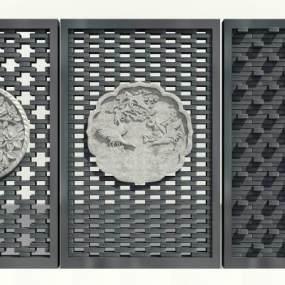 新中式灰砖拼花砖艺砖雕背景墙3D模型【ID:132972498】
