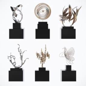 現代輕奢金屬抽象藝術裝飾擺件3D模型【ID:252579503】