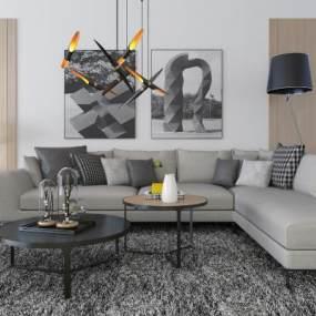 现代沙发组合 3D模型【ID:641315752】