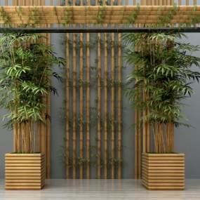 新中式竹子吊灯墙饰摆件组合3D模型【ID:130607432】