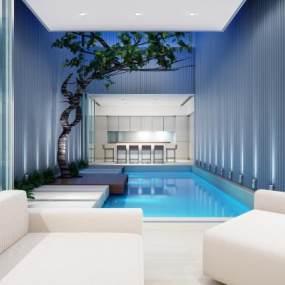 现代游泳池3D模型【ID:534710990】