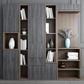 现代实木书柜3D模型【ID:141748141】