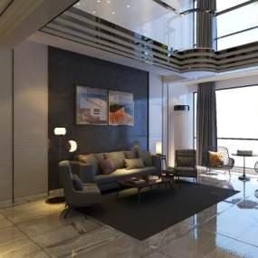 黑白现代客厅3D模型【ID:533237061】
