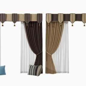 现代窗帘组合3D模型【ID:253723654】