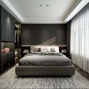 现代简约卧室 3D模型【ID:541766254】