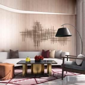 现代轻奢沙发组合3D模型【ID:640946772】