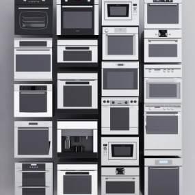 现代厨房嵌入式烤箱微波炉洗碗机组合3D模型【ID:232127677】
