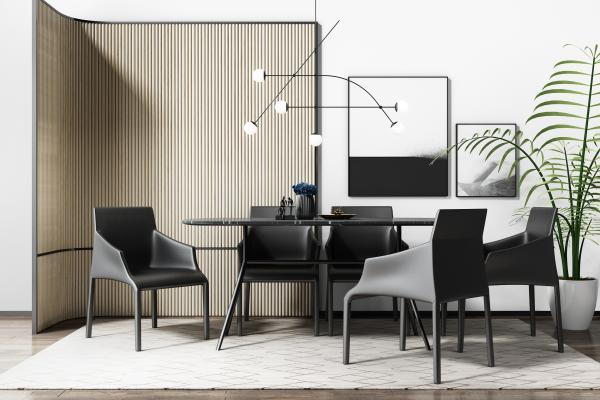 现代餐桌椅3D模型【ID:844159866】