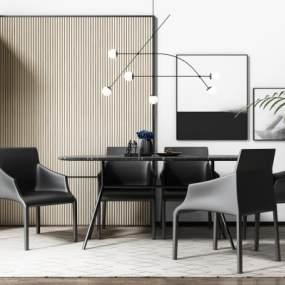 現代餐桌椅3D模型【ID:844159866】