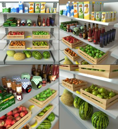 现代超市水果蔬菜货架3D模型【ID:445698022】