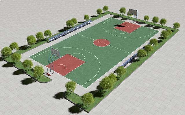 现代露天篮球场3D模型【ID:843422749】