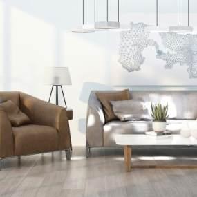 现代沙发茶几组合3D模型【ID:637133724】