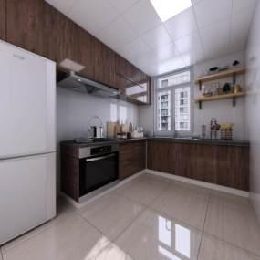 現代風格寫實廚房3D模型【ID:548206345】