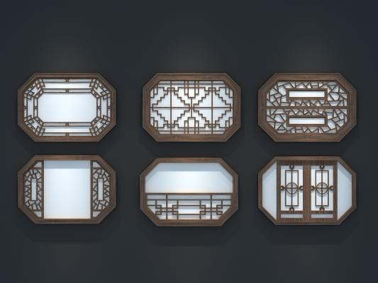 中式窗3D模型【ID:331330202】