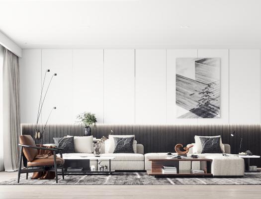 现代轻奢客厅3D模型【ID:543578055】