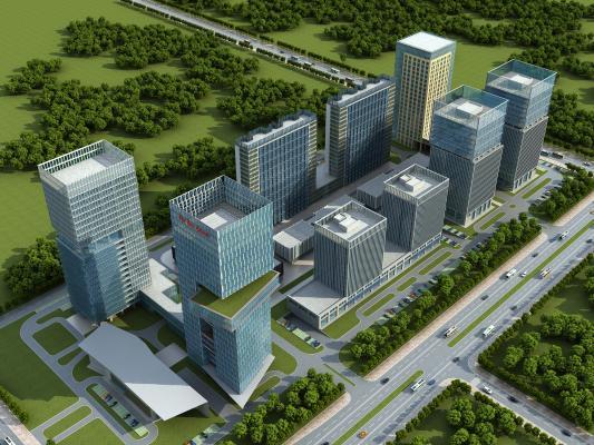 現代玻璃商業綜合體建筑3D模型【ID:244029098】