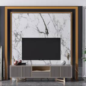 现代电视背景墙3D模型【ID:949154981】