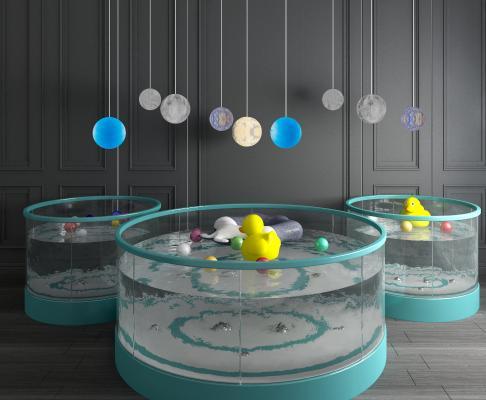 现代婴儿游泳池游泳馆游泳缸游泳圈海洋球组合3D模型【ID:441292156】
