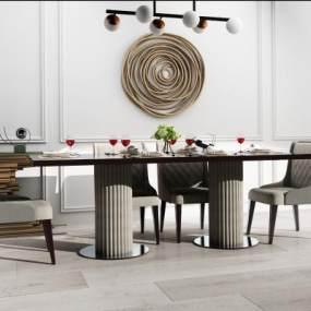 現代餐桌椅3D模型【ID:846536840】
