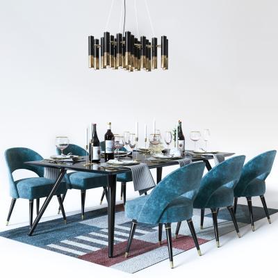 后现代餐桌椅吊灯组合3D模型【ID:832868869】