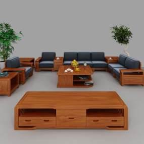 新中式實木組合沙發3D模型【ID:644146700】