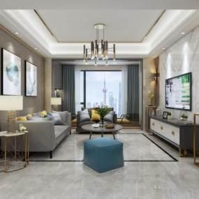 现代客厅空间3D模型【ID:543507000】