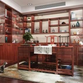 新中式风格书房3D模型【ID:553455456】