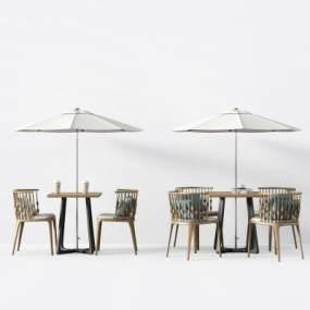 现代户外休闲桌椅3D模型【ID:735652517】