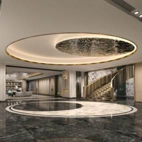 現代酒店大堂3D模型【ID:746426076】