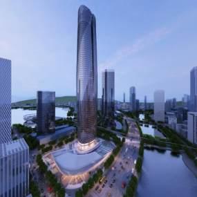 现代超高建筑外景3D模型【ID:134162999】