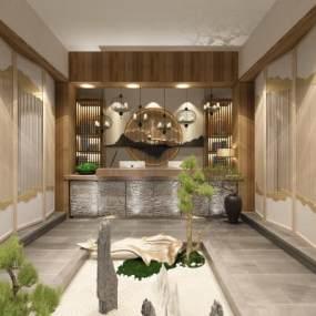 新中式民宿酒店大堂3D模型【ID:635441536】