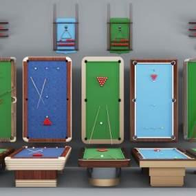 现代台球台球桌组合3D模型【ID:331617829】