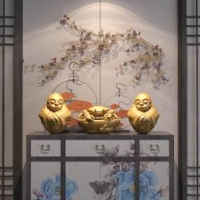 新中式边柜陈设品组合3D模型【ID:134711121】