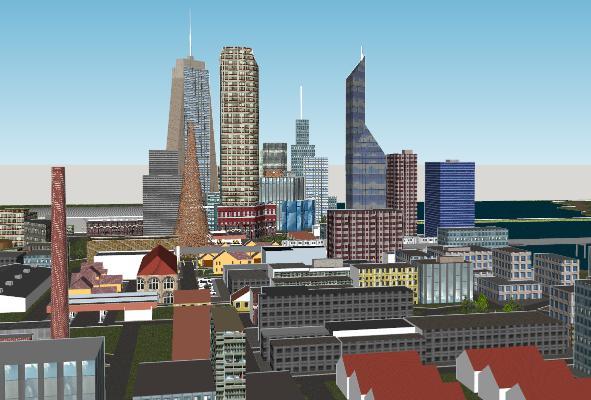 现代城市建筑滨水规划SU模型【ID:351673202】