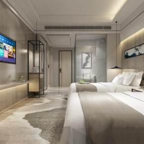 现代酒店客房3D模型【ID:753834329】