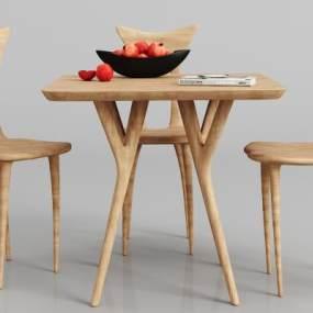 现代实木餐桌椅组合3D模型【ID:834464814】